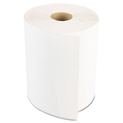 Hardwound Paper Towels, Nonperforated 1-Ply White, 350ft, 12 Rolls/Carton