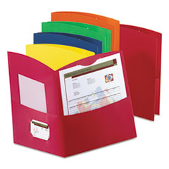 Contour Two-Pocket Reycled Paper Folder, 100-Sheet Capacity, Assorted Colors