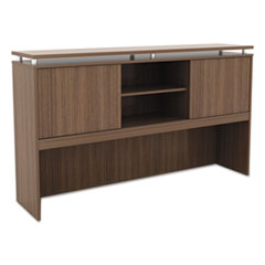 Alera Sedina Series Hutch with Sliding Doors, 66w x 15d x 42 1/2h, Modern Walnut
