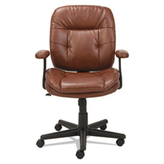 Swivel/Tilt Leather Task Chair, Fixed T-Bar Arms, Chestnut Brown