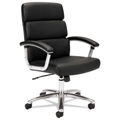 VL103 Series Executive Mid-Back Chair, Black Leather