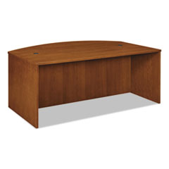 BW Veneer Series Bow Front Desk Shell, 72w x 42w x 29h, Bourbon Cherry