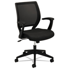 VL521 Series Mid-Back Work Chair, Mesh Back, Fabric Seat, Black
