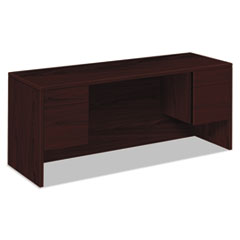 10500 Series Kneespace Credenza With 3/4-Height Pedestals, 72w x 24d, Mahogany