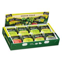 BIGELOW GREEN TEA ASSORTMENT EIGHT FLAVORS 64 TEA BAGS/BOX