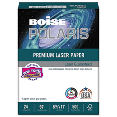 POLARIS Premium Laser Paper, 97 Bright, 24lb, 8 1/2 x 11, White. 500 Sheets