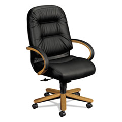 2190 Pillow-Soft Wood Series Executive High-Back Chair, Harvest/Black Leather