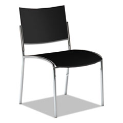 Escalate Stacking Chair, Plastic Back/Seat, Black, 4 Chairs/Carton