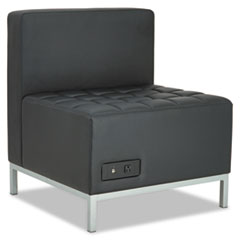 Alera QUB Series Powered Armless L Sectional, 26 3/8 x 26 3/8 x 30 1/2, Black