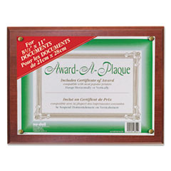 Award-A-Plaque Document Holder, Acrylic/Plastic, 10-1/2 x 13, Mahogany
