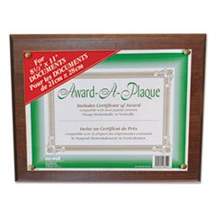 Award-A-Plaque Document Holder, Acrylic/Plastic, 10-1/2 x 13, Walnut