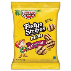 Mini Cookies, Fudge Stripes, 2oz Snack Pack, 8/Box