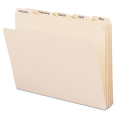 Indexed File Folders, 1/5 Cut, Indexed Jan-Dec, Top Tab, Letter, Manila, 12/Set