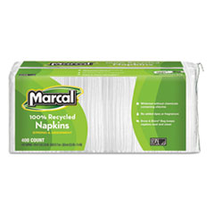 100% Recycled Luncheon Napkins, 12 1/2 x 11 2/5, White, 2400/Carton