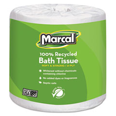 100% Recycled Two-Ply Bath Tissue, White, 48 Rolls/Carton