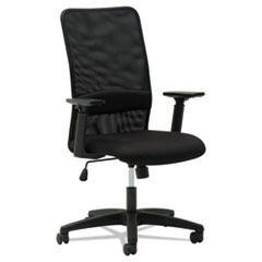 Mesh High-Back Chair, Height Adjustable T-Bar Arms, Black