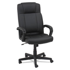 Leather High-Back Chair, Fixed Loop Arms, Black