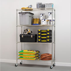 Complete Wire Shelving Unit w/Caster, Four-Shelf, 48 x 18 x 72, Silver