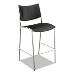 Escalate Stacking Stool, Plastic Back/Seat, Black, 2 Stools/Carton