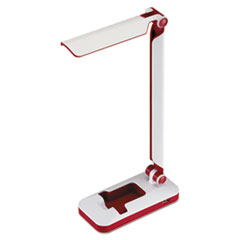"PureOptics Verve Folding LED Desk Light, 2 Prong, 16"", White/Red"