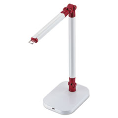 "PureOptics Exalt Flash Detachable Head LED Desk Light, 2 Prong, 19"", White/Red"