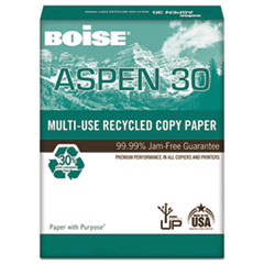 ASPEN 30% Recycled Multi-Use Paper, 92 Bright, 20lb, 8 1/2 x 14, White