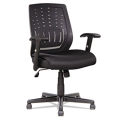 Managers Synchro-Tilt Mesh Mid-Back Chair , Height Adjustable T-Bar Arms, Black