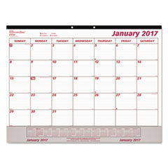 Monthly Desk Pad Calendar, 22 x 17, White/Maroon, 2017