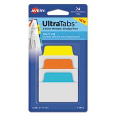 Ultra Tabs Repositionable Tabs, 1 x 1.5, Neon:Green, Pink, Yellow, Orange, 40/Pk