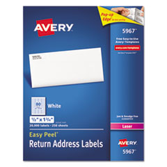 Address Labels for Laser Printers, 1/2 x 1 3/4, White, 20000/Box