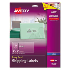 Clear Easy Peel Shipping Labels, Inkjet, 2 x 4, 250/Pack
