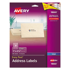 Clear Easy Peel Mailing Labels, Inkjet, 1 x 2 5/8, 300/Pack