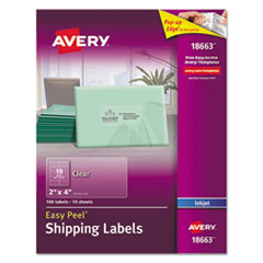 Clear Easy Peel Shipping Labels, Inkjet, 2 x 4, 100/Pack