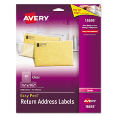 Clear Easy Peel Mailing Labels, Laser, 2/3 x 1 3/4, 600/Pack