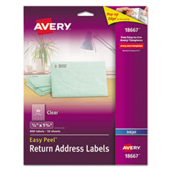 Clear Easy Peel Mailing Labels, Inkjet, 1/2 x 1 3/4, 800/Pack