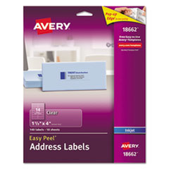 Clear Easy Peel Address Labels, Inkjet, 1 1/3 x 4, 140/Pack