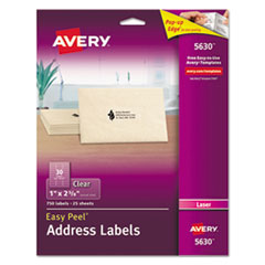 Clear Easy Peel Address Labels, Laser, 1 x 2 5/8, 750/Box