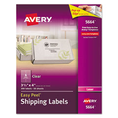Clear Easy Peel Shipping Labels, Laser, 3 1/3 x 4, 300/Box