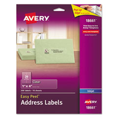 Clear Easy Peel Mailing Labels, Inkjet, 1 x 4, 200/Pack