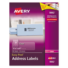 Clear Easy Peel Address Labels, Laser, 1 1/3 x 4, 700/Box
