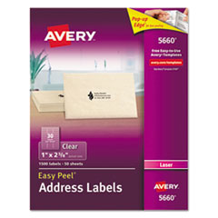 Clear Easy Peel Address Labels, Laser, 1 x 2 5/8, 1500/Box