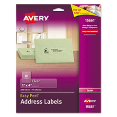 Clear Easy Peel Address Labels, Laser, 1 x 4, 200/Pack