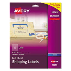 Clear Easy Peel Mailing Labels, Inkjet, 8 1/2 x 11, 10/Pack