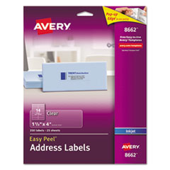 Clear Easy Peel Address Labels, Inkjet, 1 1/3 x 4, 350/Pack