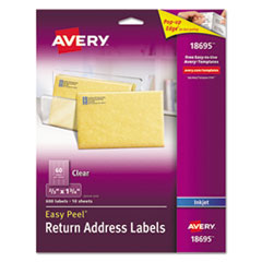Clear Easy Peel Return Address Labels, Inkjet, 2/3 x 1 3/4, 600/Pack