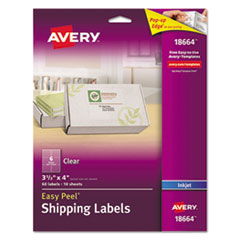 Clear Easy Peel Shipping Labels, Inkjet, 3 1/3 x 4, 60/Pack