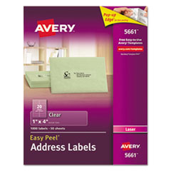 Clear Easy Peel Address Labels, Laser, 1 x 4, 1000/Box