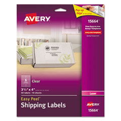 Clear Easy Peel Shipping Labels, Laser, 3 1/3 x 4, 60/Pack