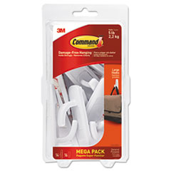 General Purpose Hooks, 5lb Capacity, Plastic, White, 14 Hooks, 16 Stri MMM17003MPES