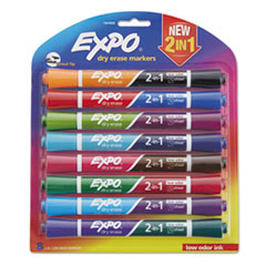 2-in-1 Dry Erase Markers, 16 Assorted Colors, Medium, 8/Pack